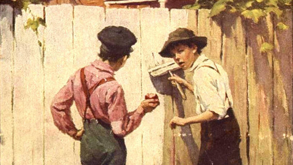 "James Ellsworth Brehm's illustration from a 1917 edition of Mark Twain's ""Tom Sawyer"""