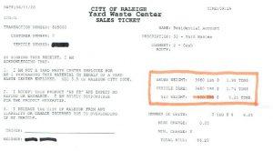 Raleigh Dumping Receipt
